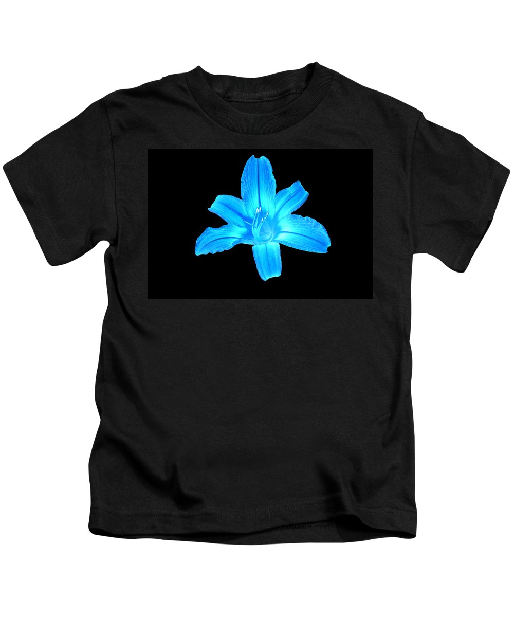Flowers Kids T-Shirt featuring the digital art Blue Lily by Jasmin Hrnjic