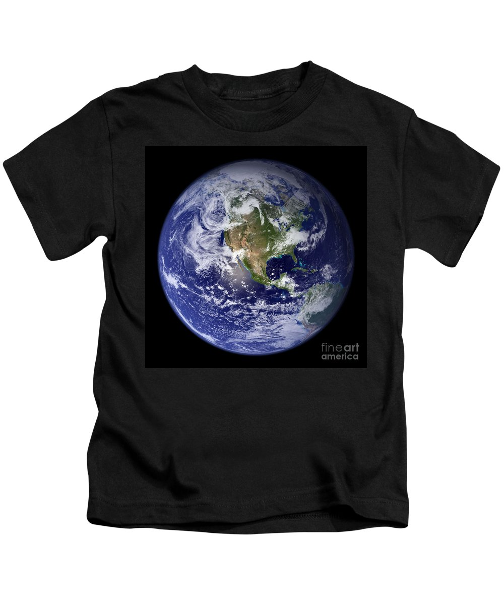 Earth Kids T-Shirt featuring the photograph Blue Marble Earth, North America by Science Source