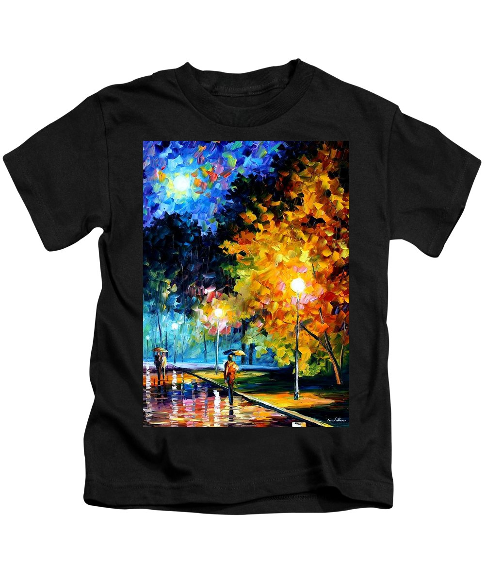 Afremov Kids T-Shirt featuring the painting Blue Moon by Leonid Afremov