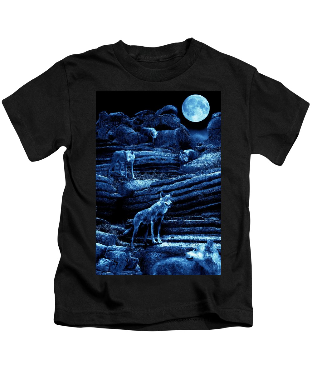 Wolf Kids T-Shirt featuring the photograph Blue Moon Wolf Pack by Mal Bray