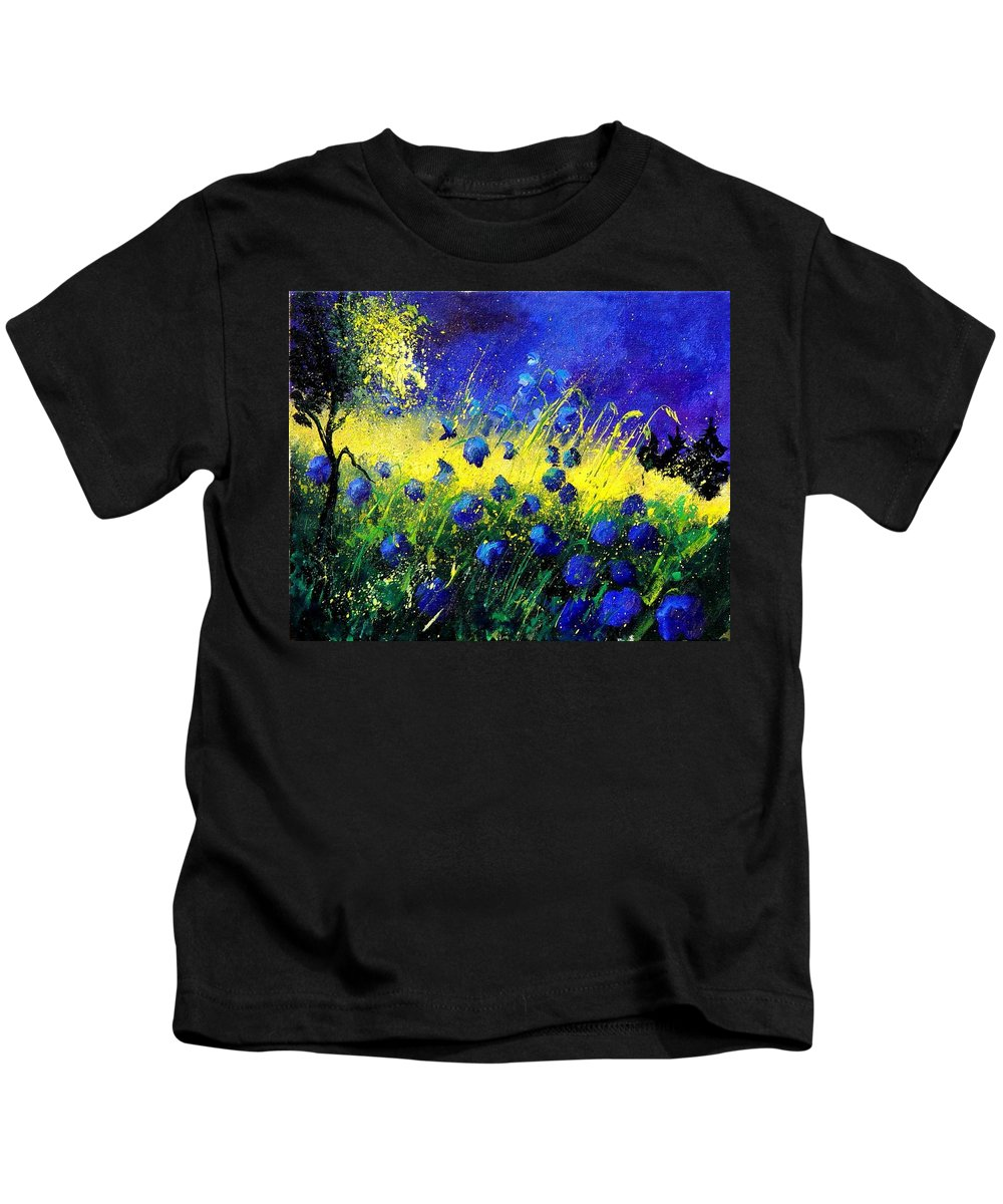 Flowers Kids T-Shirt featuring the painting Blue Poppies by Pol Ledent