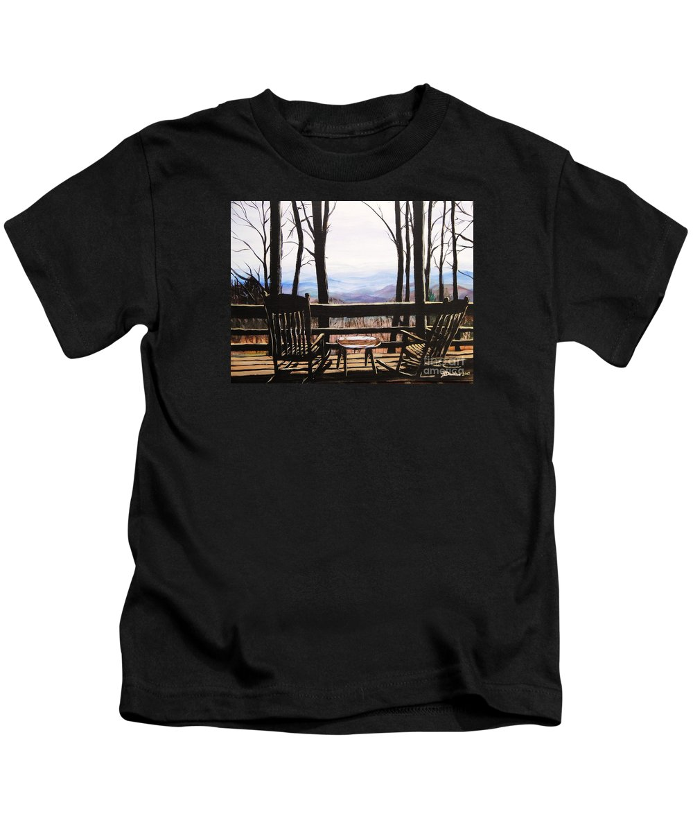North Carolina Kids T-Shirt featuring the painting Blue Ridge Mountain Porch View by Patricia L Davidson