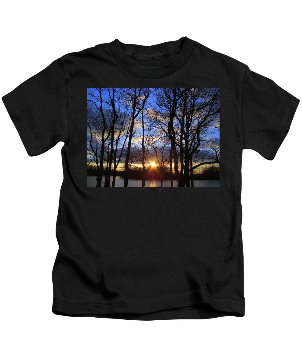 Sunset Kids T-Shirt featuring the photograph Blue Skies And Golden Sun by J R Seymour