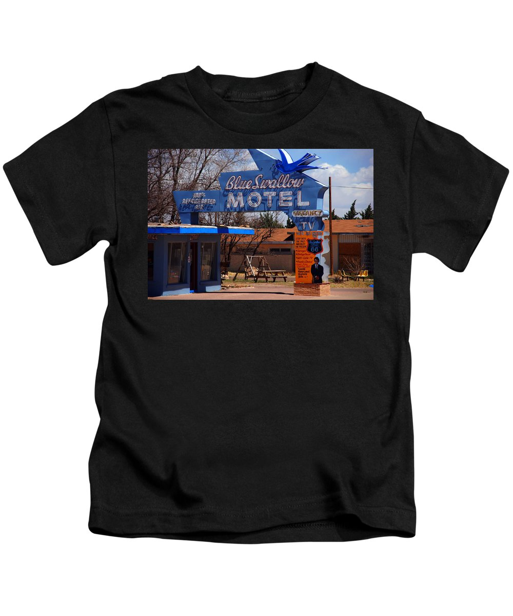 Route 66 Kids T-Shirt featuring the photograph Blue Swallow Motel On Route 66 by Susanne Van Hulst