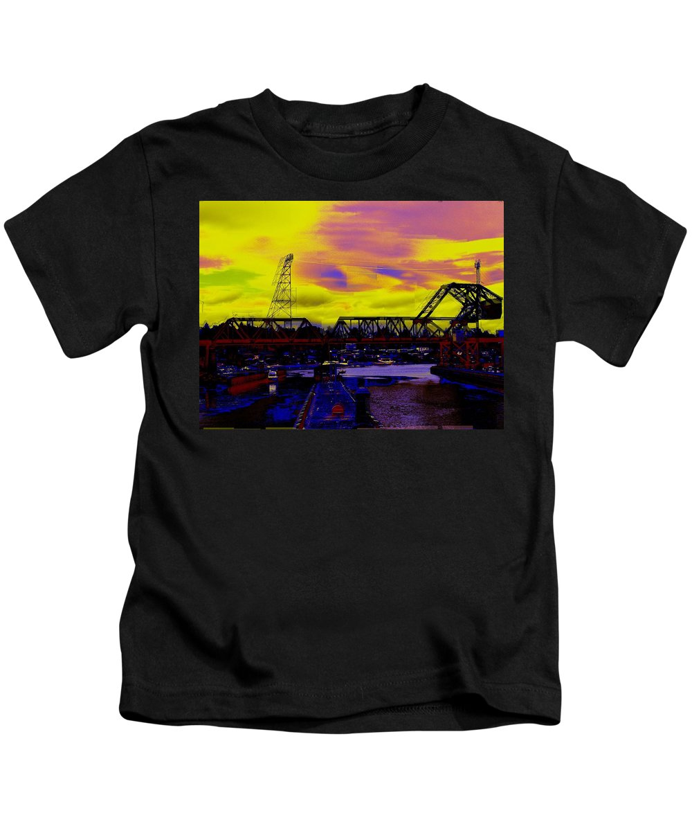 Seattle Kids T-Shirt featuring the photograph Bnsf Trestle At Salmon Bay by Tim Allen