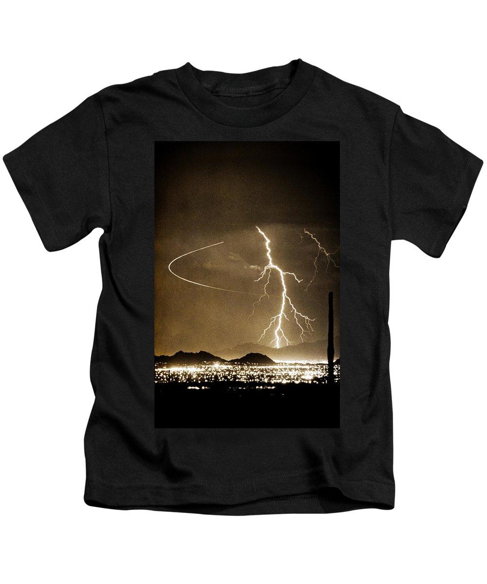 Lightning Kids T-Shirt featuring the photograph Bo Trek Lightning Art by James BO Insogna