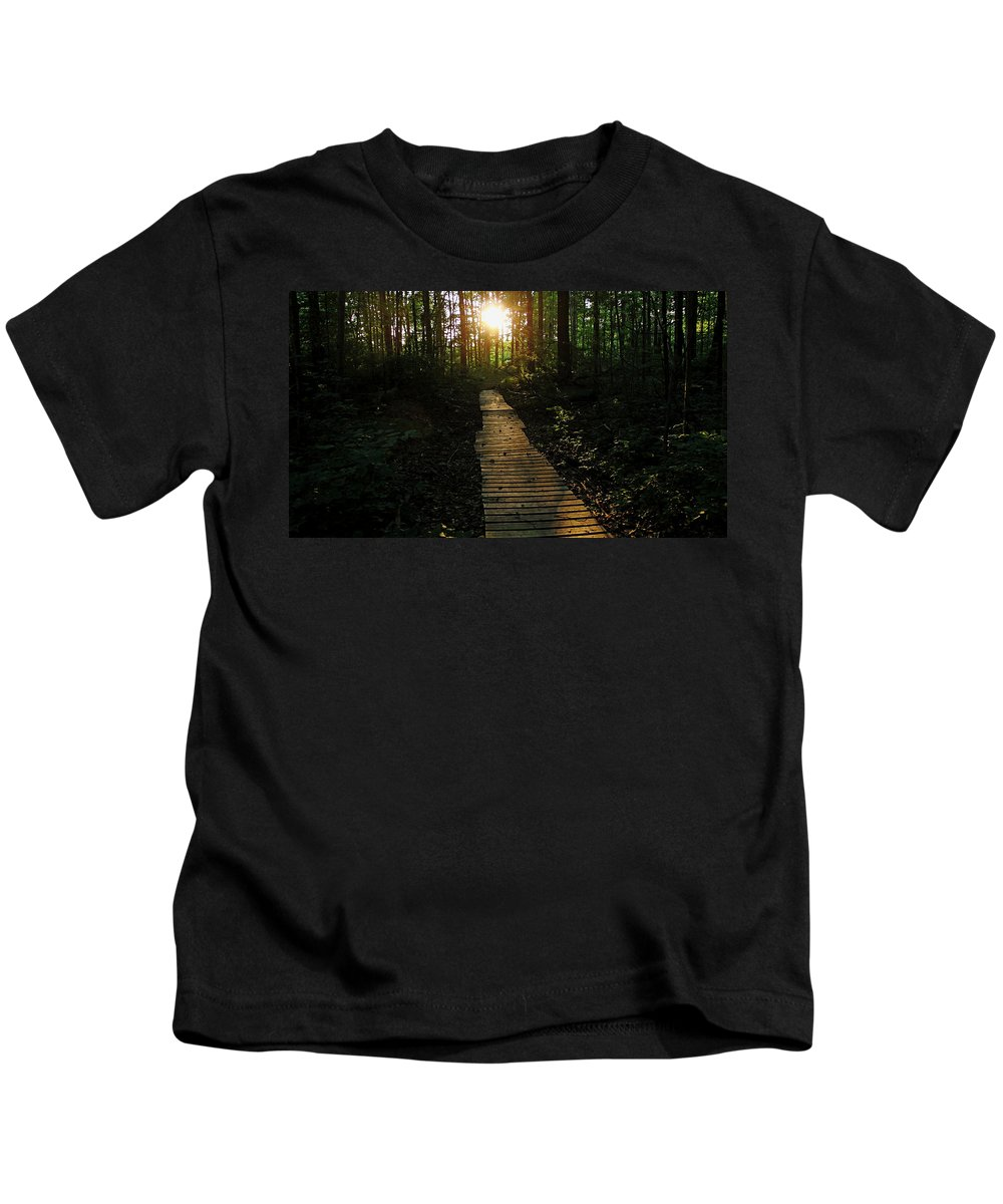 Guelph Kids T-Shirt featuring the photograph Boardwalk To The Sun by Debbie Oppermann