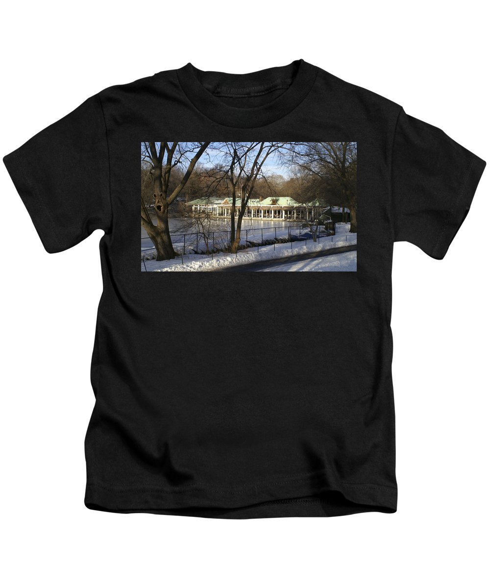 Boat Kids T-Shirt featuring the photograph Boat House Central Park NY by Henri Irizarri