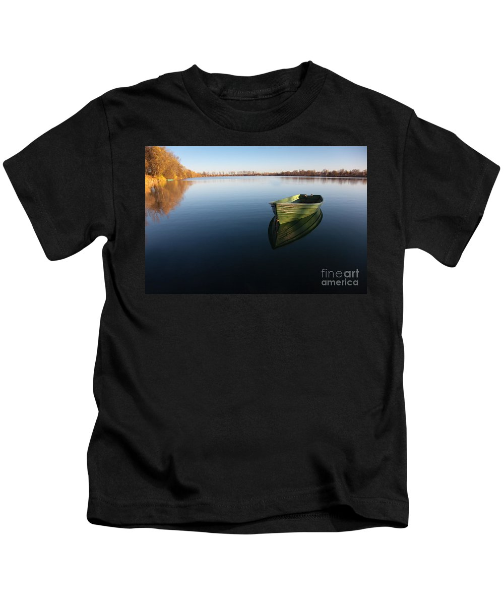 Active Kids T-Shirt featuring the photograph Boat On Lake by Nailia Schwarz