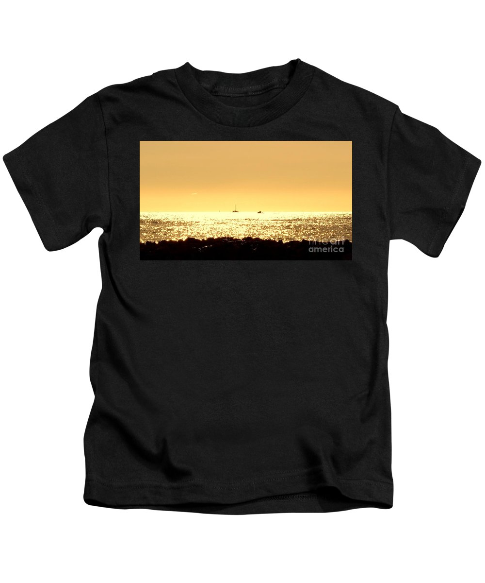 Sea Kids T-Shirt featuring the photograph Boats On The Golden Horizon by Peter Jamieson