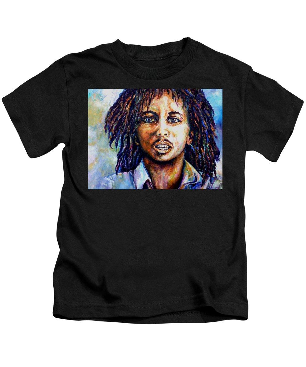 Original Fine Art By Lloyd Deberry Kids T-Shirt featuring the painting Bob Marley by Lloyd DeBerry