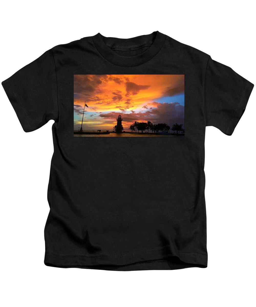 Boca Chita Kids T-Shirt featuring the photograph Boca Chita Sunset by Megan Hopper