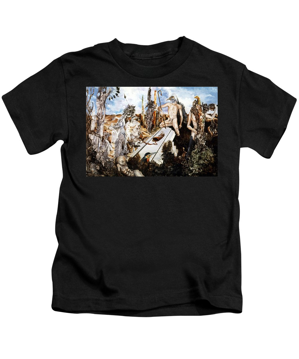 Surrealism Kids T-Shirt featuring the painting Bogomils Court by Otto Rapp