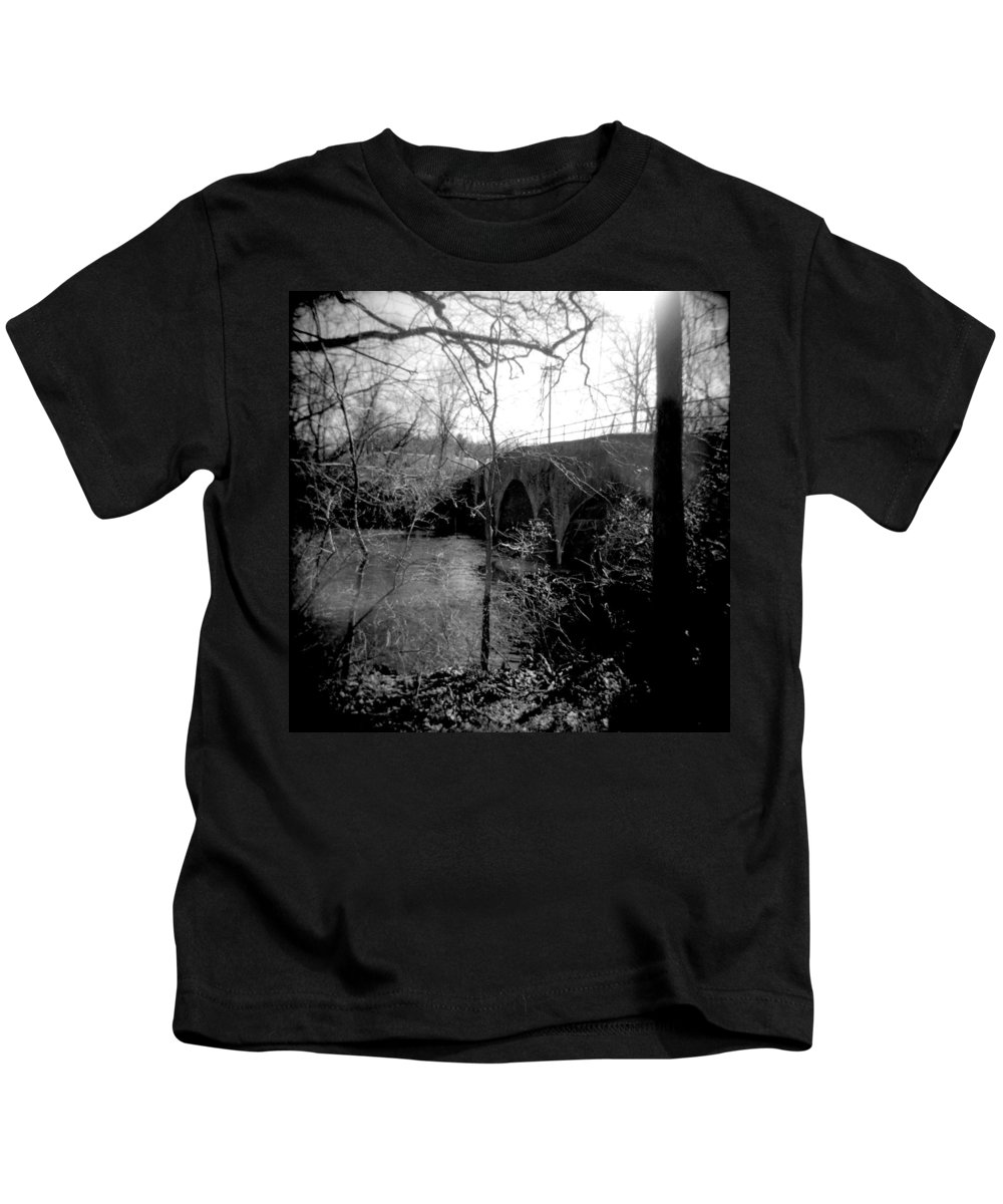 Photograph Kids T-Shirt featuring the photograph Boiling Springs Bridge by Jean Macaluso