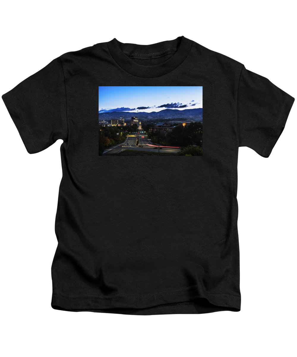 Boise Kids T-Shirt featuring the photograph Boise Skyline In Early Morning Hours by Vishwanath Bhat