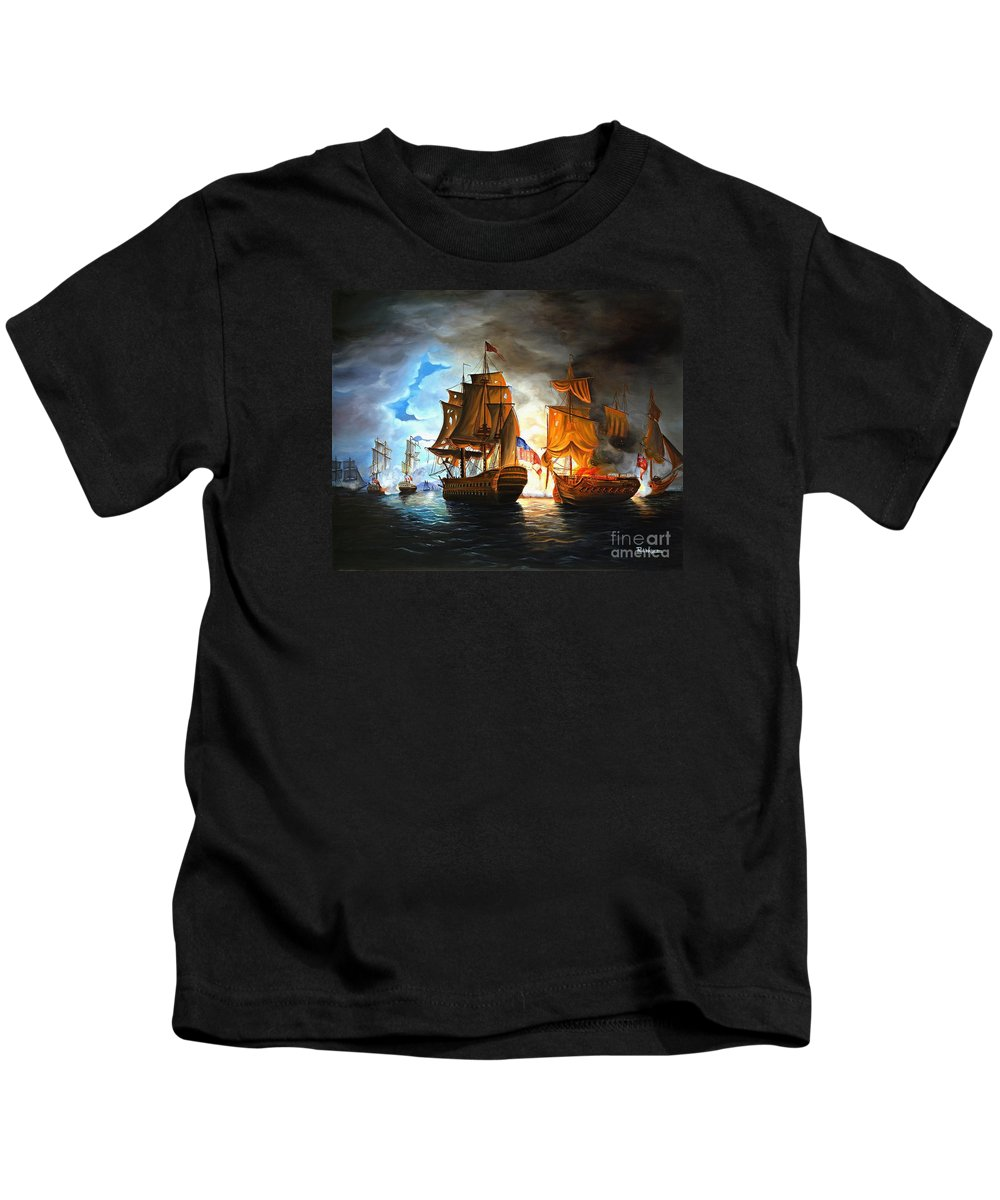 Naval Battle Kids T-Shirt featuring the painting Bonhomme Richard Engaging The Serapis In Battle by Paul Walsh