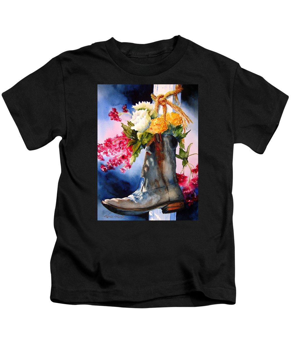 Cowboy Kids T-Shirt featuring the painting Boot Bouquet by Karen Stark