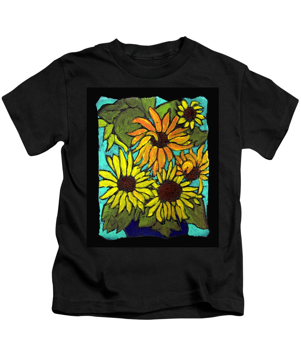 Flowers Kids T-Shirt featuring the painting Boquet Of Sunshine by Wayne Potrafka
