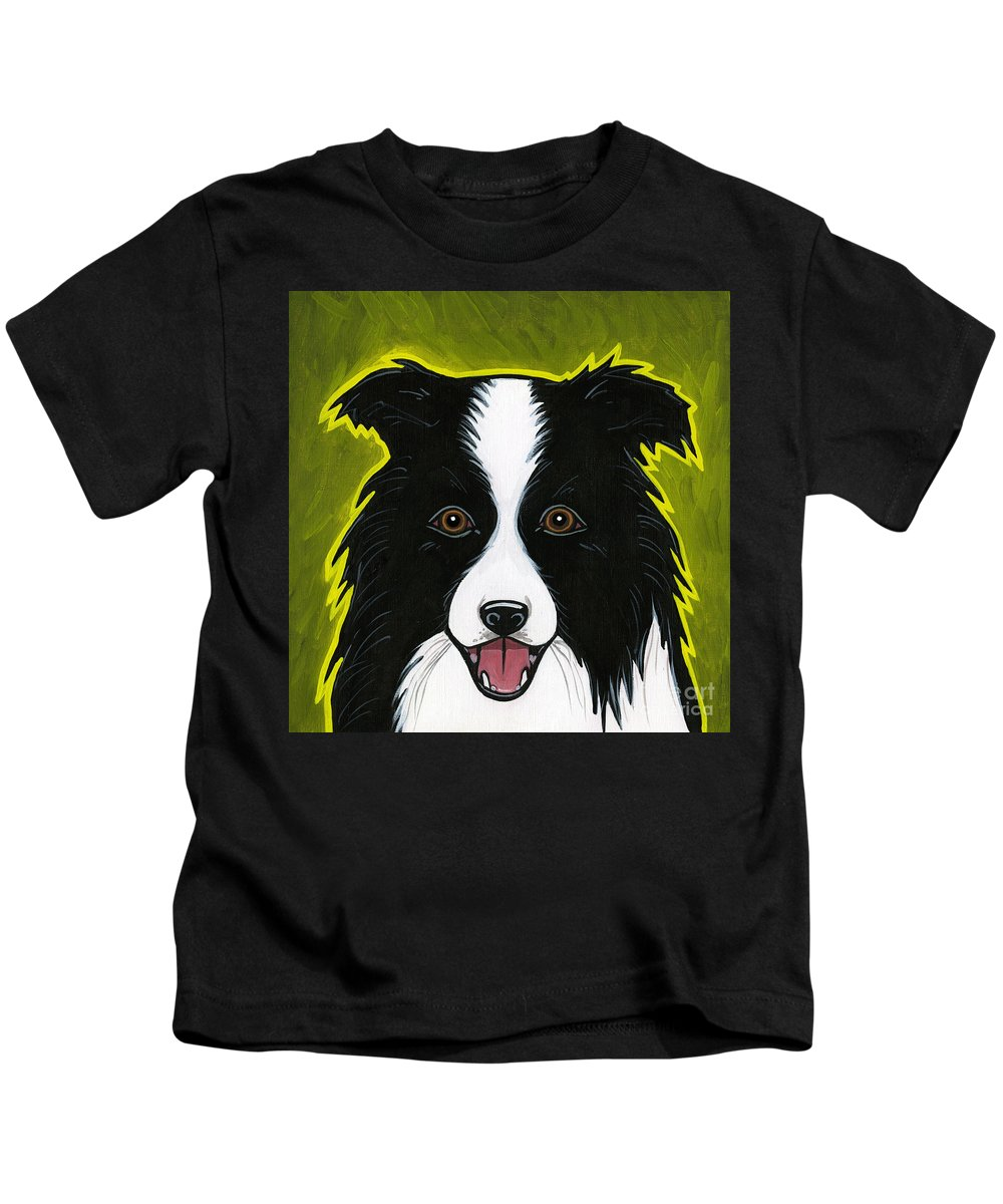 Border Collie Kids T-Shirt featuring the painting Border Collie by Leanne Wilkes