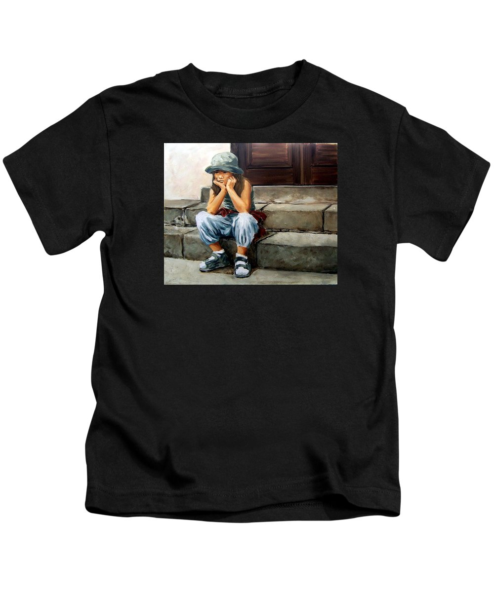 Figurative Little Girl Portrait Realism Child Kid Kids T-Shirt featuring the painting Bored by Natalia Tejera