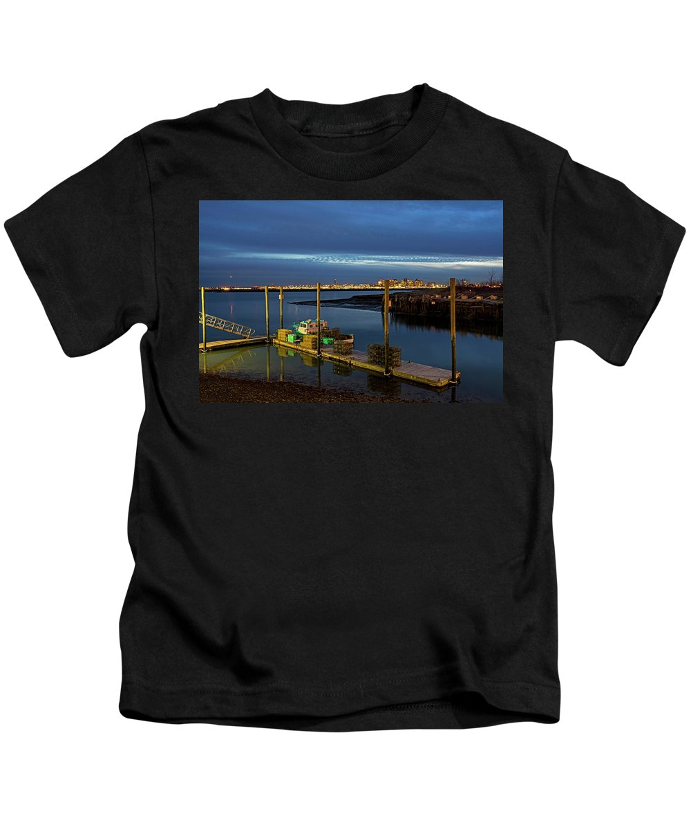 Boston Kids T-Shirt featuring the photograph Boston Ma Belle Isle Boat Pier And Skyline Logan Airport by Toby McGuire