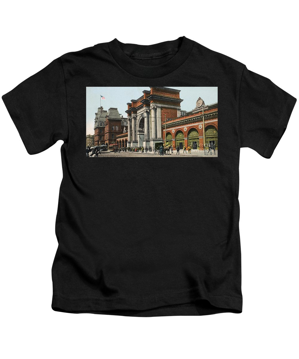 1910 Kids T-Shirt featuring the photograph Boston: North Station by Granger