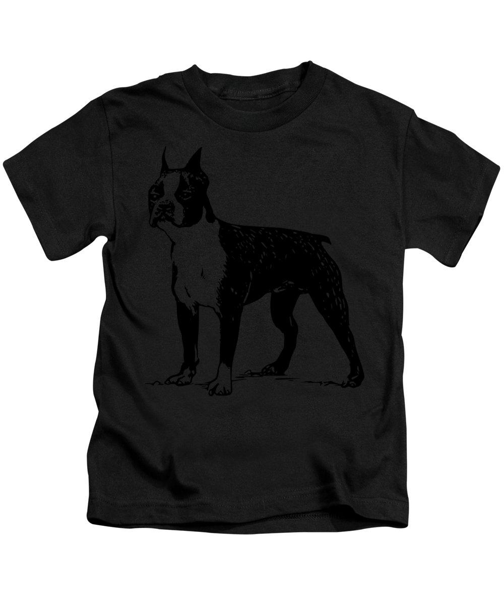 Boston Terrier Mixed Media Kids T-Shirts
