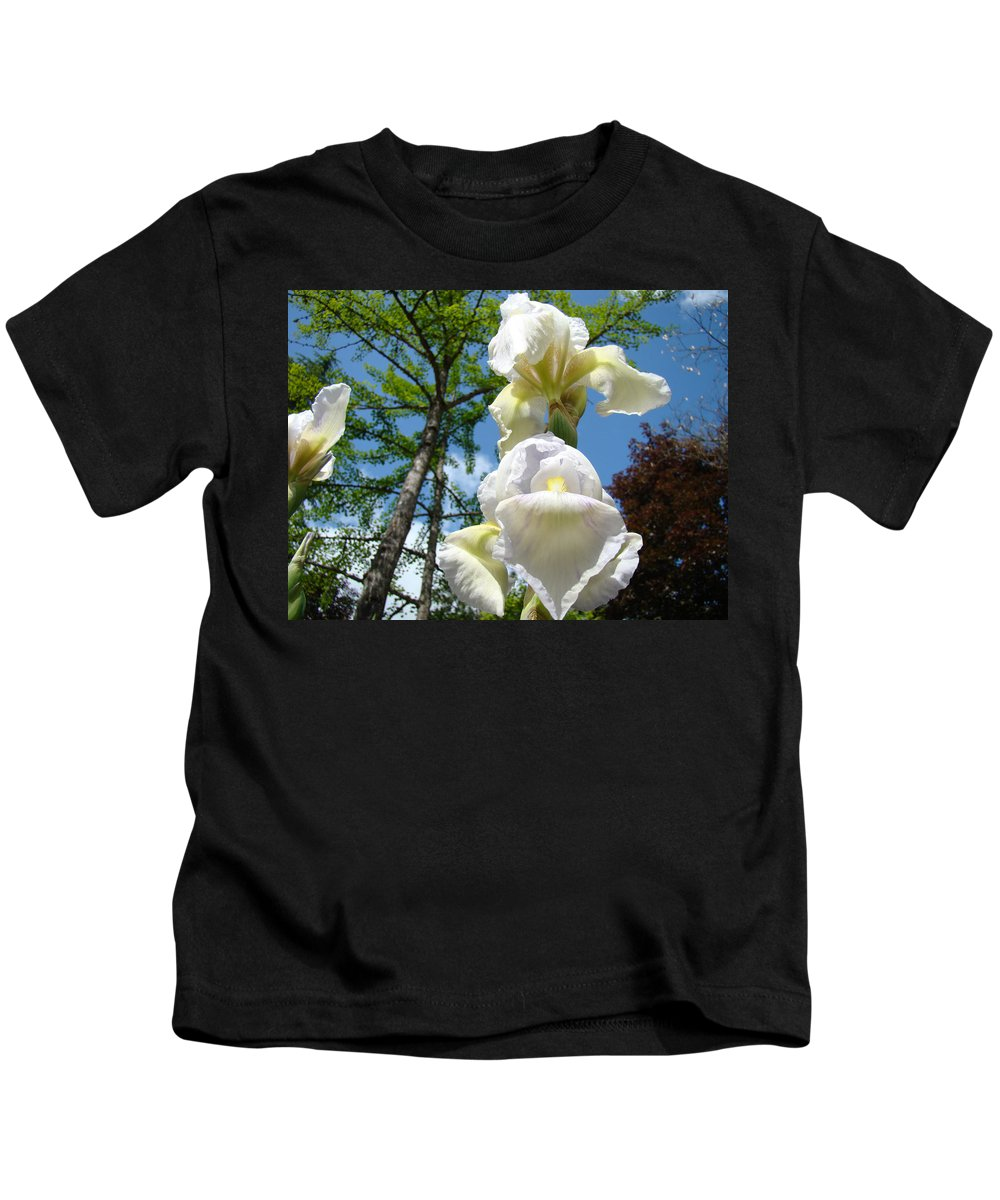 Iris Kids T-Shirt featuring the photograph Botanical Landscape Trees Blue Sky White Irises Iris Flowers by Baslee Troutman