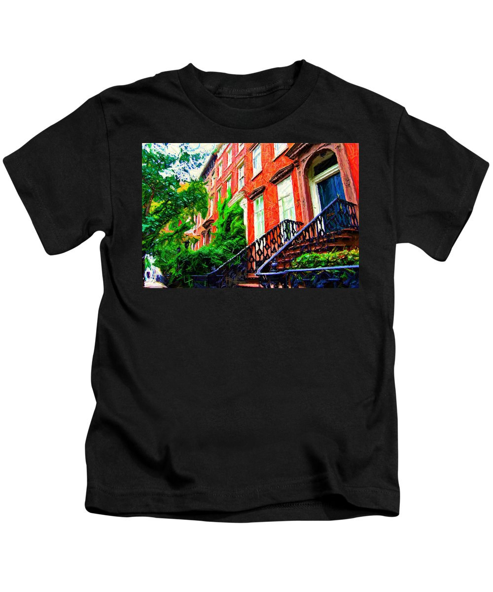 Greenwich Village Kids T-Shirt featuring the photograph Botanical Village Sketch by Randy Aveille