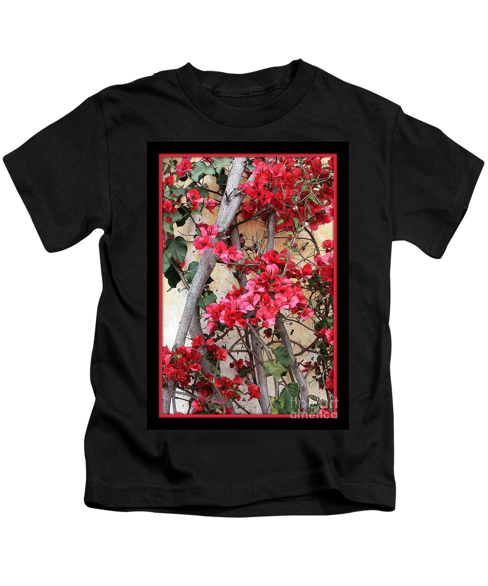 Bougainvillea Kids T-Shirt featuring the photograph Bougainvillea On Mission Wall - Digital Painting by Carol Groenen
