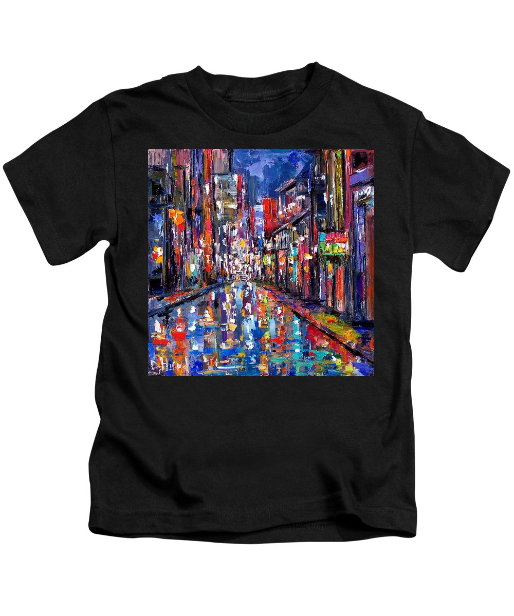 New Orleans Kids T-Shirt featuring the painting Bourbon Street by Debra Hurd