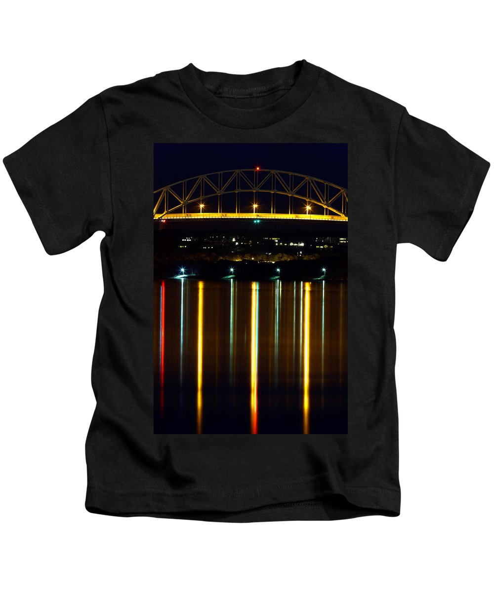 Bourne Bridge Kids T-Shirt featuring the photograph Bourne Bridge At Night Cape Cod by Matt Suess