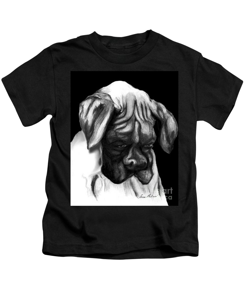 Animals Kids T-Shirt featuring the painting Boxer Puppy by Portraits By NC