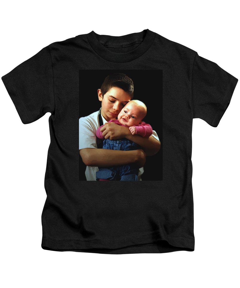 Children Kids T-Shirt featuring the photograph Boy With Bald-headed Baby by RC deWinter