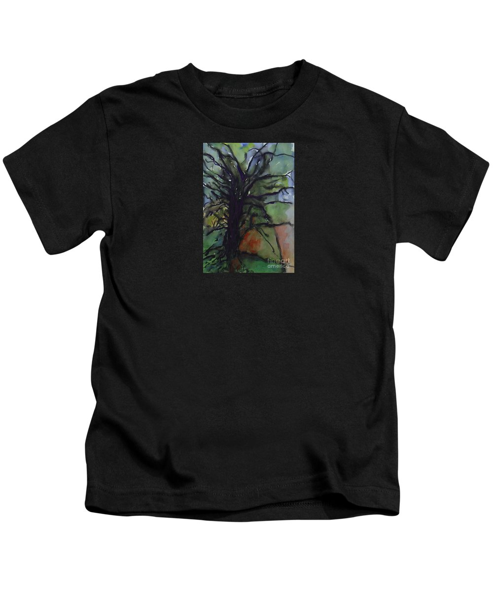 Tree Landscape Abstract Watercolor Original Blue Green Kids T-Shirt featuring the painting Branching by Leila Atkinson