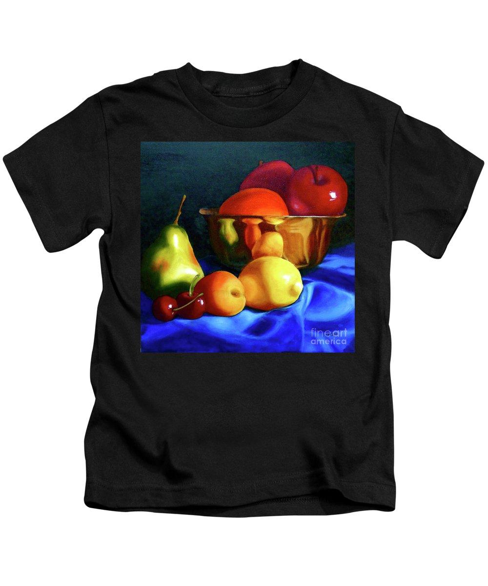Still Llife Kids T-Shirt featuring the painting Brass Ensemble by Susan A Becker