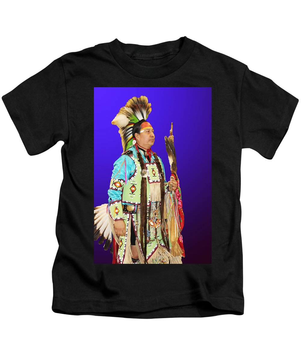 Native Americans Kids T-Shirt featuring the photograph Brave-2 by Audrey Robillard