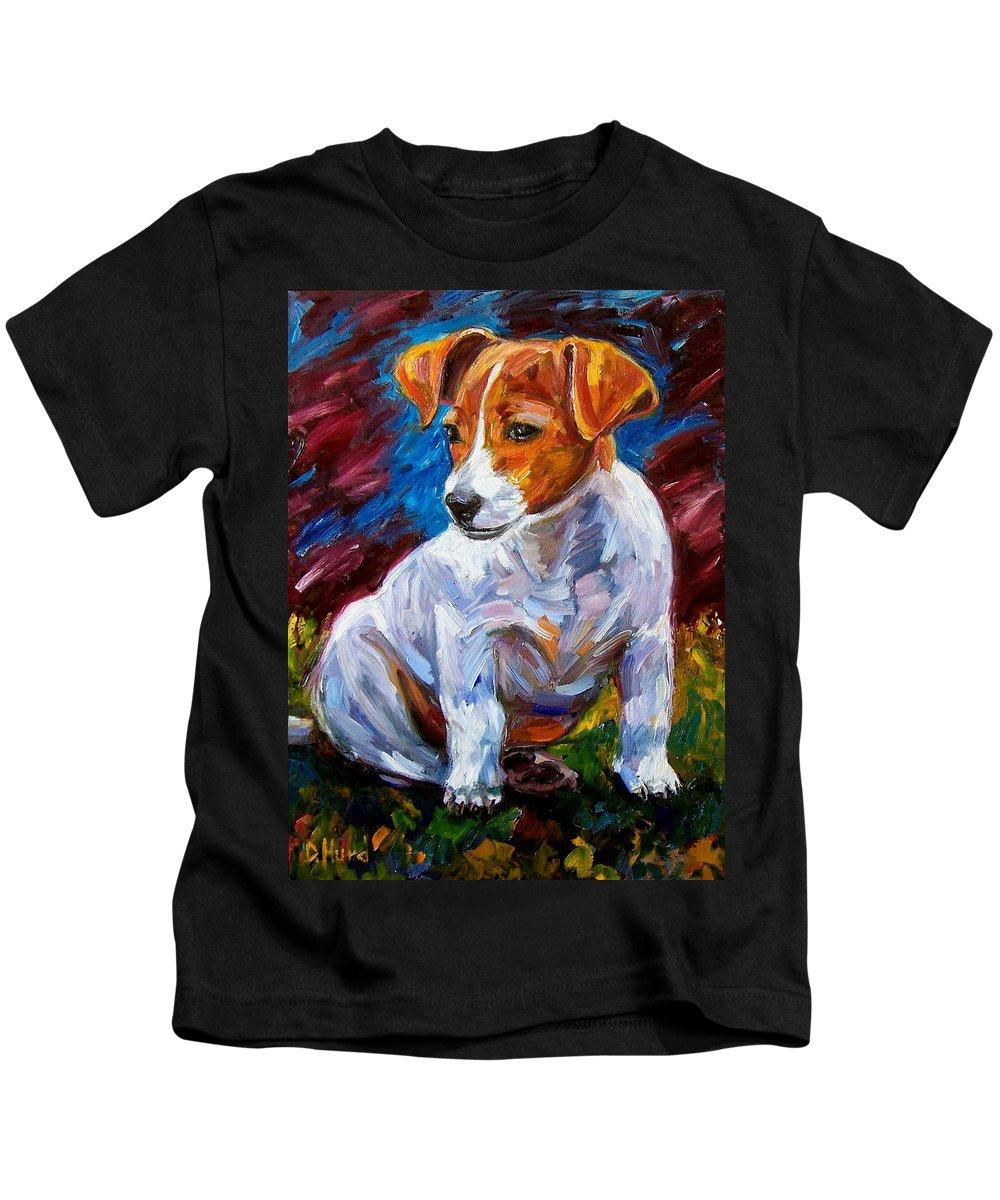 Dog Art Kids T-Shirt featuring the painting Break Time by Debra Hurd