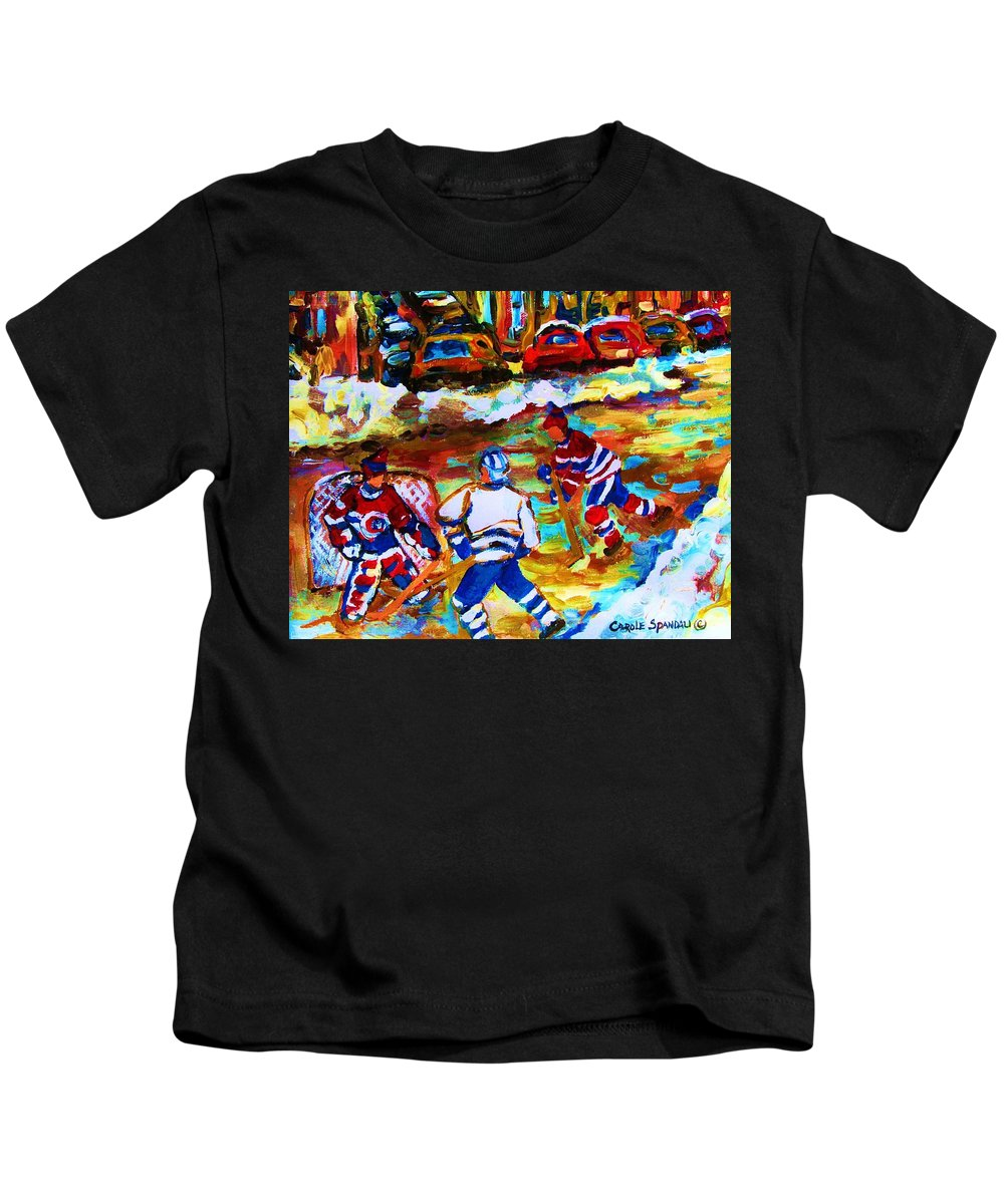 Streethockey Kids T-Shirt featuring the painting Breaking The Ice by Carole Spandau