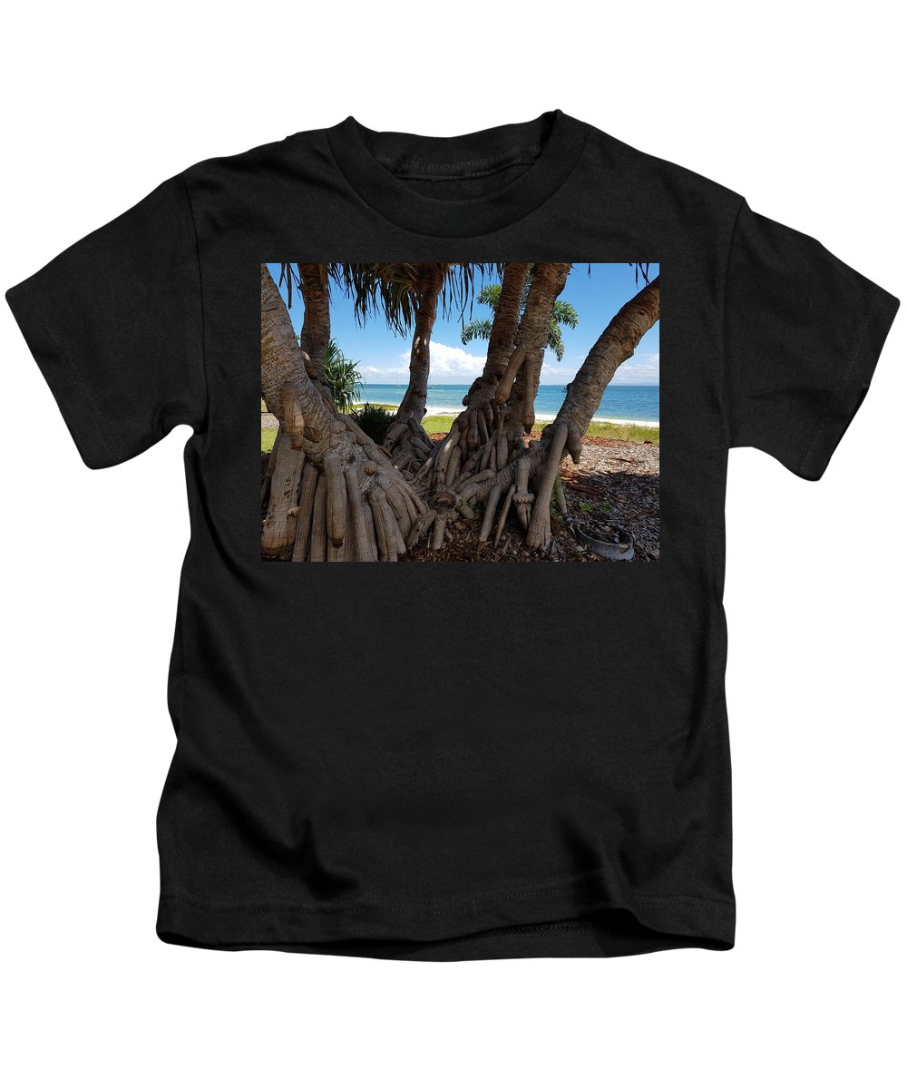 Bribie Island Kids T-Shirt featuring the photograph Bribie Trees by Cassy Allsworth