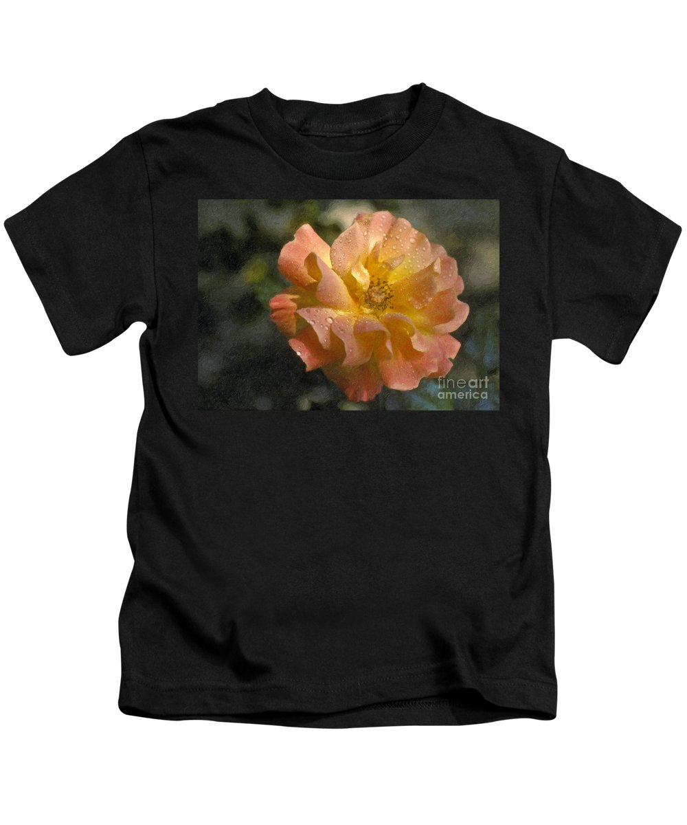 Bridal Pink Yellow Kids T-Shirt featuring the photograph Bridal Pink Yellow Hybrid Tea Rose Genus Rosa by David Zanzinger
