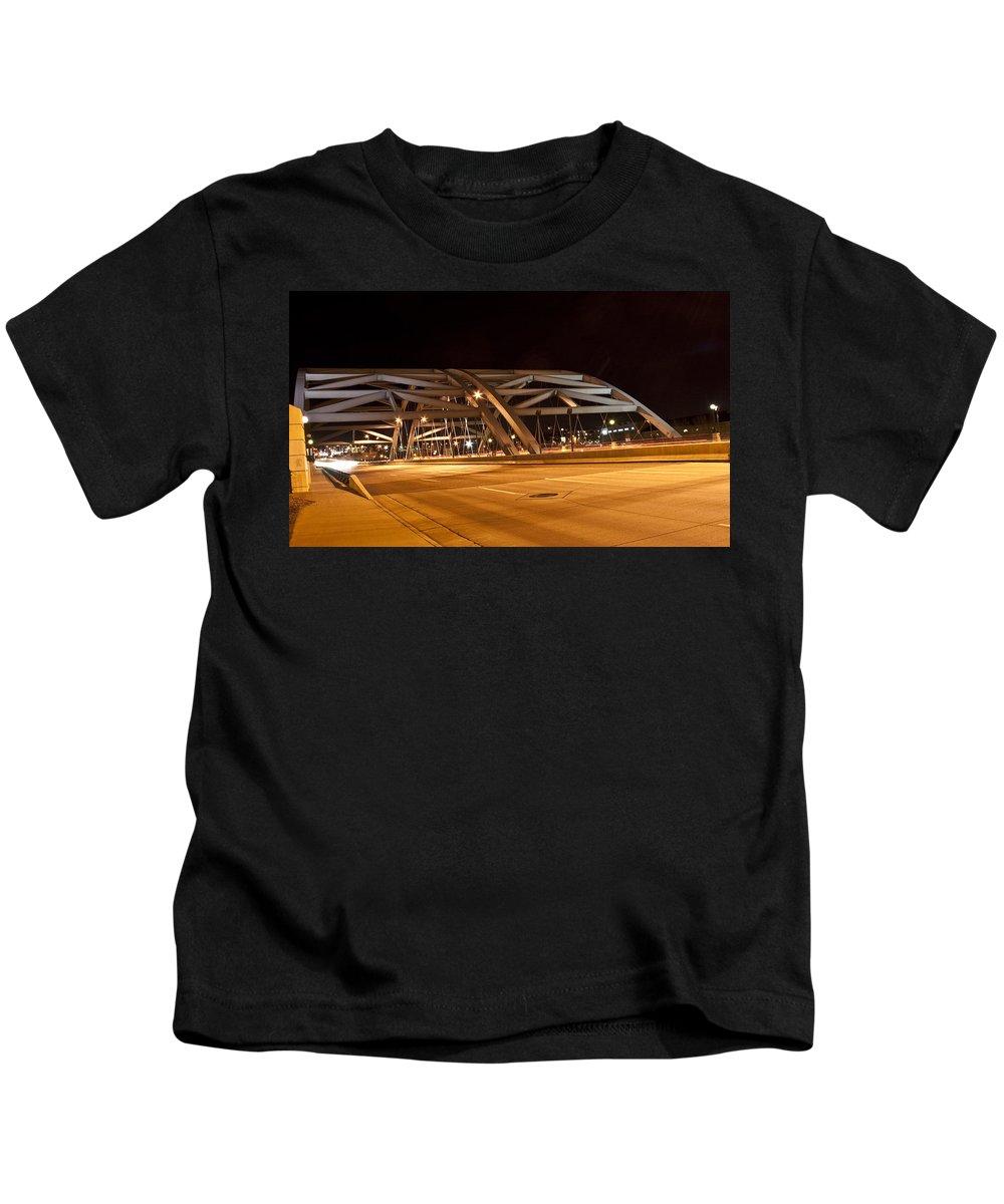 Bridge Kids T-Shirt featuring the photograph Bridge At Night by Angus Hooper Iii