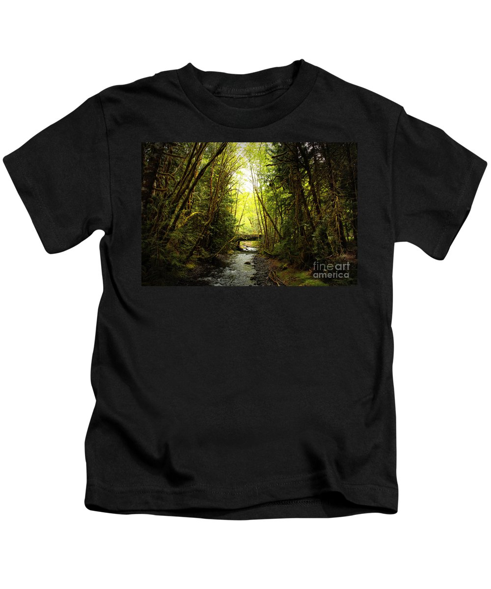 Rainforest Kids T-Shirt featuring the photograph Bridge In The Rainforest by Carol Groenen