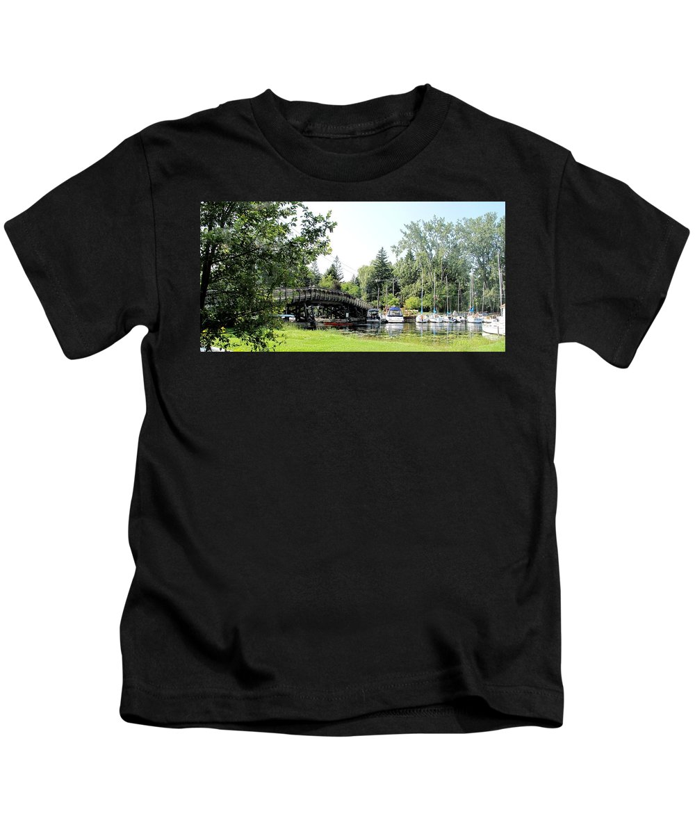 Yahcts Kids T-Shirt featuring the photograph Bridge To The Club by Ian MacDonald