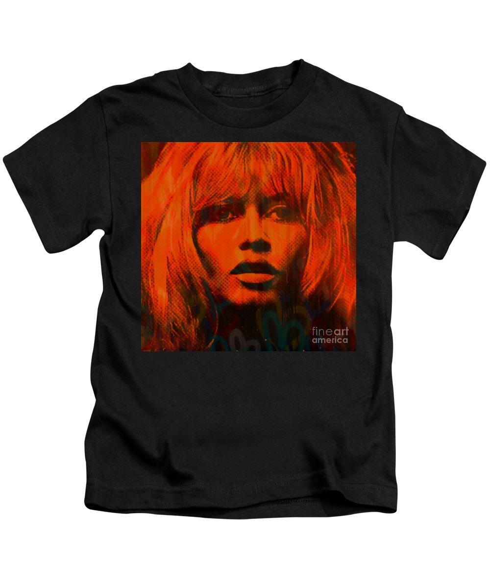 Brigitte Bardot Kids T-Shirt featuring the painting Brigitte Bardot Love Pop Art by Felix Von Altersheim