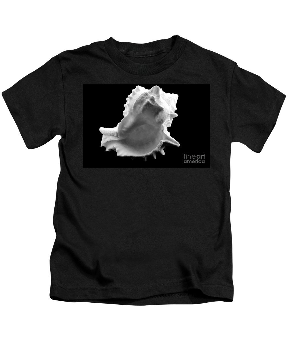 Mary Deal Kids T-Shirt featuring the photograph Brilliant Drupe In Black And White by Mary Deal