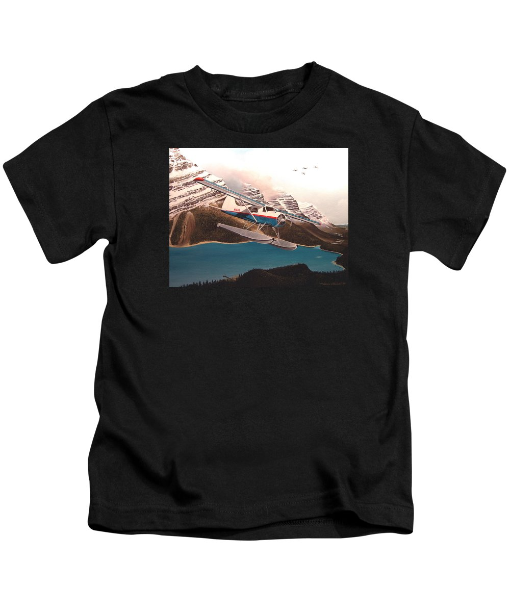 Aviation Kids T-Shirt featuring the painting Bringing Home The Groceries by Marc Stewart