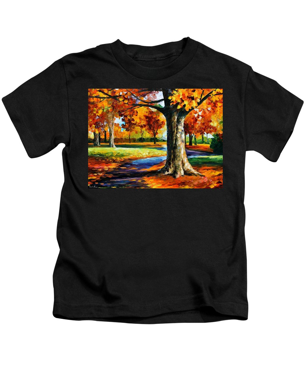 Afremov Kids T-Shirt featuring the painting Bristol Fall by Leonid Afremov