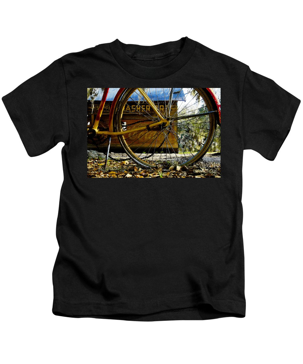 Micanopy Florida Kids T-Shirt featuring the painting Broken Bicycle by David Lee Thompson