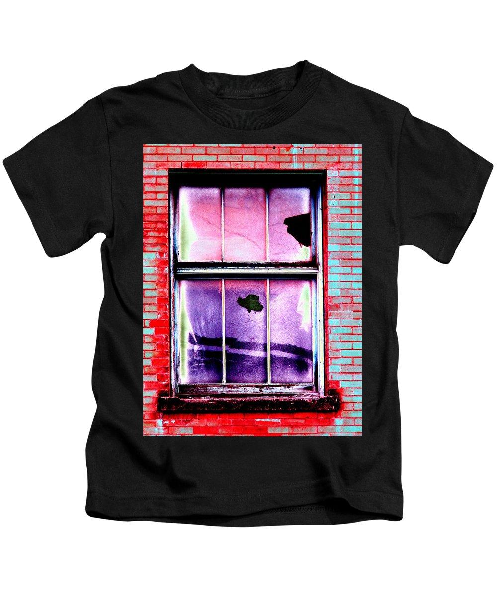 Window Kids T-Shirt featuring the photograph Broken Window by Tim Allen